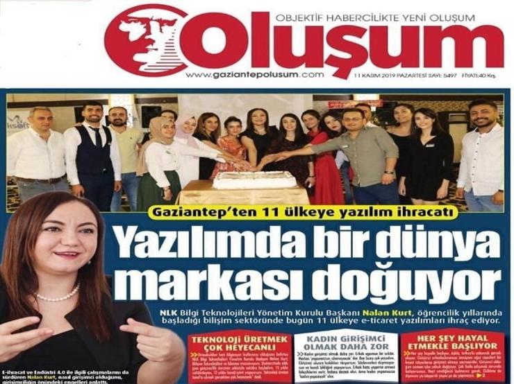 """Nlksoft  """"Yazılımda bir dünya markası doğuyor"""" başlığıyla  Oluşum Gazetesinde"""