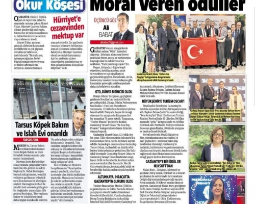 Hürriyet Gazetesi Moral Veren Ödüller Köşesindeyiz.